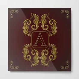 Letter A Seahorse Metal Print