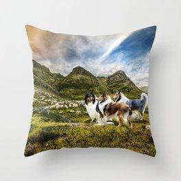 Sheepherding Rough Collies in Scottish Highlands Throw Pillow