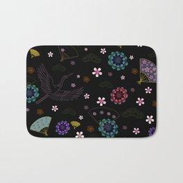 Black Japanese pattern kimono print Bath Mat