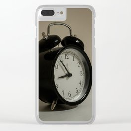 Old table clock about to take nine in the morning Clear iPhone Case