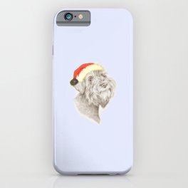 SCHNAUZER dog wearing a Santa hat iPhone Case