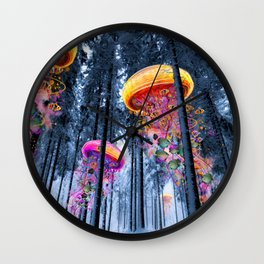 Winter Forest of Electric Jellyfish Worlds Wall Clock