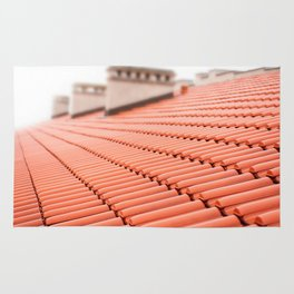 Overlapping rows of red tiles roof Rug