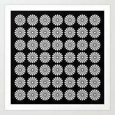 Black And White Flowery Daisy Pattern Art Print