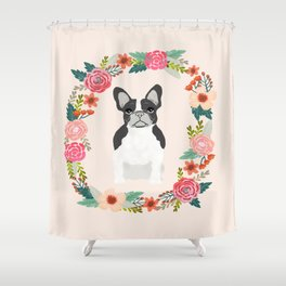 french bulldog black and white floral wreath flowers dog breed gifts corgis Shower Curtain