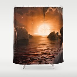 View from Exoplanet Trappist-1f Shower Curtain