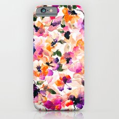 Chic Floral Pattern Pink Orange Pastel Watercolor Slim Case iPhone 6