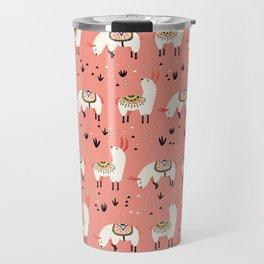 White Llamas in a pink desert Travel Mug