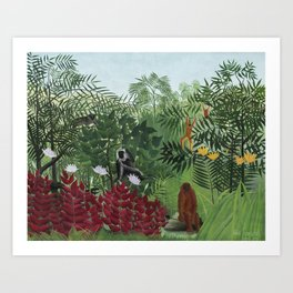 Tropical Forest with Monkeys Art Print