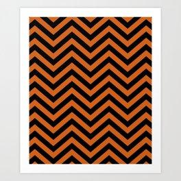 Black and Orange Chevron Pattern Art Print