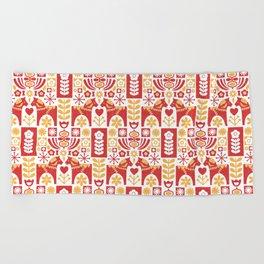 Swedish Folk Art_Mid-Century Modern Beach Towel