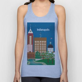 Indianapolis, Indiana - Skyline Illustration by Loose Petals Unisex Tank Top