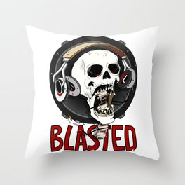 Blasted Skull Throw Pillow