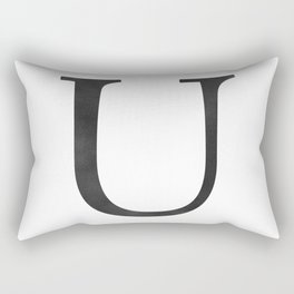 Letter U Initial Monogram Black and White Rectangular Pillow