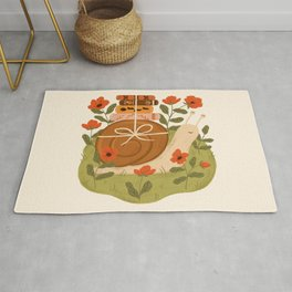 Snail Carrying Books Rug