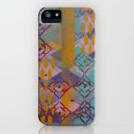 Orange leaves and pink flower pattern iPhone Case