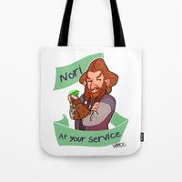 nori Tote Bags featuring Nori at Your Service  by Hattie Hedgehog