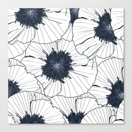 Navy and white poppies Canvas Print