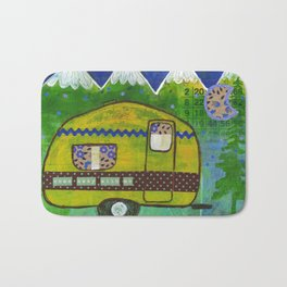 Vintage Camper Mountain Adventure Bath Mat