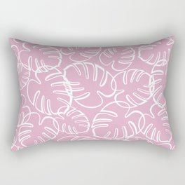 Tropical Leaves Pattern - White on Pink Rectangular Pillow