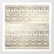 Modern faux gold foil aztec leopard pattern Art Print