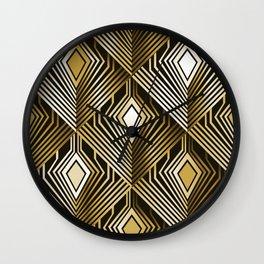Art deco golden peacock feathers Wall Clock