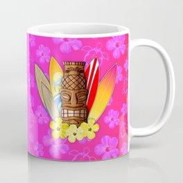 Surfboards And Tiki Mask Pink Flowers Coffee Mug
