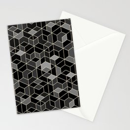 Black geometry / hexagon pattern Stationery Cards