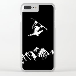 Rocky Mountain Snowboarder Catching Air Clear iPhone Case