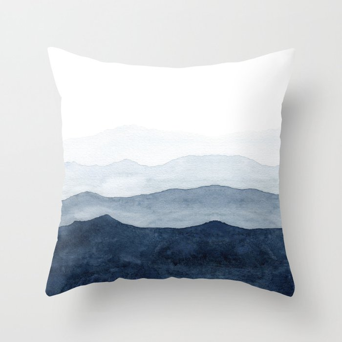 Indigo Abstract Watercolor Mountains Throw Pillow