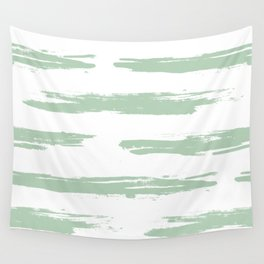 Swipe Stripe Pastel Cactus Green and White Wall Tapestry