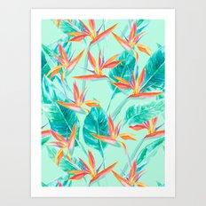 Birds Of Paradise Mint Art Print