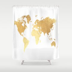 Textured Gold Map Shower Curtain