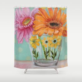 Gerber Daisy Retro Glass Painting Shower Curtain