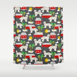 Labradoodle palm trees beaches ocean dog pattern dogs Shower Curtain