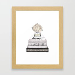 Fashion books, in Grey, with Hydrangeas, Cream, Make up, Watercolor, Fashion, Illustration Framed Art Print