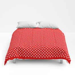 Tiny Paw Prints Pattern - Bright Red & White Comforters