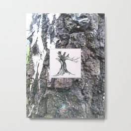 Tree Drawing on Bark Texture Photo Black and White Metal Print