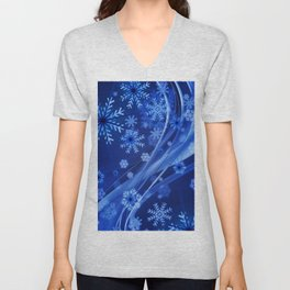 Blue Snowflakes Winter Unisex V-Neck