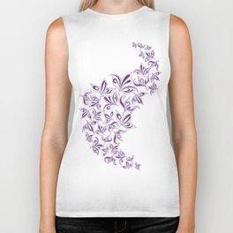 Stylized traced flowers purple Biker Tank