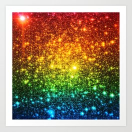 RainBoW Sparkle Stars Art Print