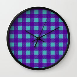 Buffalo Check Plaid in Purple and Turquoise Wall Clock