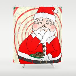 Candies and Cookies Funny Christmas Santa haiku Shower Curtain