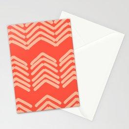 Zora's Chevron Pattern  - cream on bright coral Stationery Cards