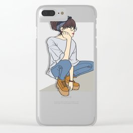 Tomboy OOTD Outfit of the Day Art Clear iPhone Case