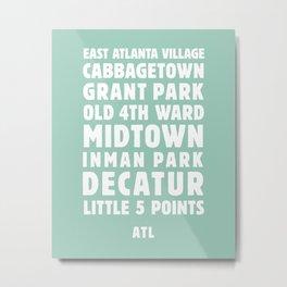Atlanta Neighborhoods (Mint) Metal Print