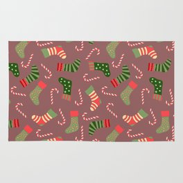 Hand painted green red white Christmas socks candy pattern Rug