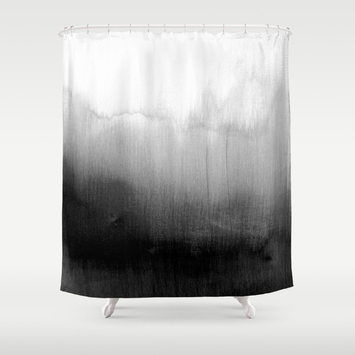 modern black and white watercolor gradient shower curtain by blackstrawberry