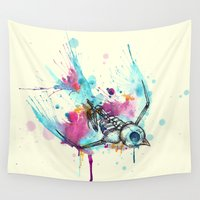 swallow Wall Tapestries featuring Swallow Skeleton Bird Watercolor by Ludwig Van Bacon