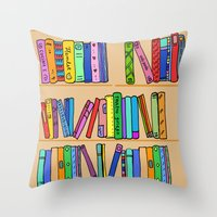 library Throw Pillows featuring The library by andy_panda_